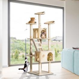Rascador Para Gatos Con Poste Para Arañar 60X50X180Cm  - Pawhut. Beige  - Color: Beige
