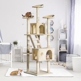 Rascador Para Gatos Tipo Centro de Actividad Con árbol y Poste Para Arañar  - Color Beige  - 60X50X180 Cm  - Color: Beige