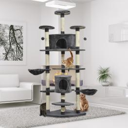 Rascador Para Gatos Tipo Centro de Juegos Con árbol y Poste Para Arañar  - Gris Oscuro  - 200X60X60Cm  - Color: Crema y Gris