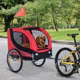 Remolque Bici Mascota de Oxford 130X73X90Cm  - Pawhut. Rojo y Negro  - Color: Rojo y Negro