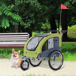 Remolque Bici Para Mascota Metal 130X90X110Cm  - Pawhut. Verde y Gris  - Color: Verde