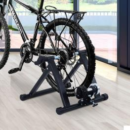 Rodillo Entrenamiento Bicicleta Homcom Acero 54,5X47,2X39,1Cm, Negro  - Color: Negro