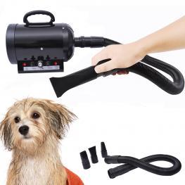 Secador Profesional de Pelo Para Perros Gatos y Mascotas 2400W + Tubo Flexible 2,5 Metros - Color Negro - Color: Negro