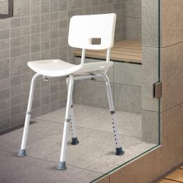 Silla Ducha Aluminio Ayuda Baño Taburete Banqueta Regulable Ajustable Wc Asiento - Color: Blanco y Plata