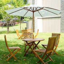 Sombrilla Parasol Para Terraza Jardín Piscina Patio Camping<br> - Color Blanco Crema<br> - Poliéster Madera<br> - φ300X250 Cm<br> - Color: Blanco Crem