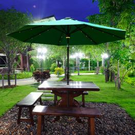 Sombrilla Reclinable Tipo Parasol Con Luz Led y Altavoz<br> - Color Verde Oscuro<br> - Aluminio<br> - φ2.75X2.33M<br> - Color: Verde Oscuro