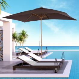 Sombrilla Tipo Parasol Para Terraza Patio y Jardín  - Mástil de Madera  - Color Chocolate  - 2X3 M  - Color: Marron