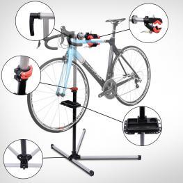Soporte Tipo Caballete Para Reparación de Bicicletas  - Color Negro y Plata  - Acero  - 100X56X190Cm  - Color: Negro y Plata