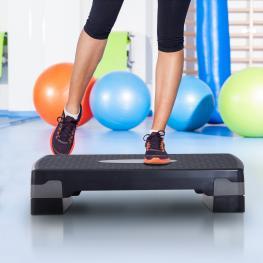 Tabla de Step Ajustable Fitness Homcom Plástico 68X29X10-15Cm, Negro  - Color: Negro y Gris