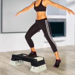 Tabla de Step Para Fitness Aeróbic Deporte y Gimnasia - Color Negro y Gris - Plástico - 76X29X12.5-22.5 Cm -