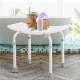 Taburete de Ducha Silla Baño 8 Posiciones Altura Regulable Con Tapones de Goma - Color: Blanco y Plata