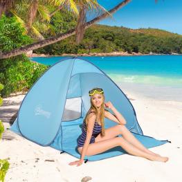 Tienda de Campaña Para Playa Camping Picnic €� Color Azul - Poliéster y Acero €� 200 X 150 X 115Cm - Color: Azul