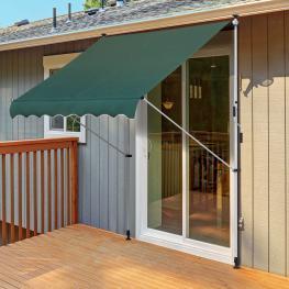 Toldo Balcón Altura Ajustable de Aluminio 2X1.5M  - Outsunny. Verde  - Color: Verde