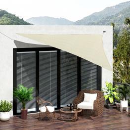 Toldo Vela 3X3X3M Triangulo Color Crema Sombrilla Parasol Terraza Jardin Camping  - Color: Crema