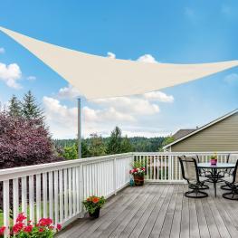 Toldo Vela 4X4X4M Triangulo Color Crema Sombrilla Parasol Terraza Jardin Camping  - Color: Crema