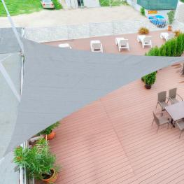 Toldo Vela 5X5X5M Triangulo Color Gris Sombrilla Parasol Terraza Jardin Camping  - Color: Gris