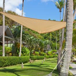 Toldo Vela Triángulo Tipo Sombrilla Parasol Para Terraza Jardín y Camping<br> - Color Arena<br> - Poliéster<br> - 5X5X5M<br> - Color: Color Arena