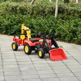 Tractor A Pedales Para Niños Con Remolque y Pala Frontal Rojo Homcom  - Color: Rojo
