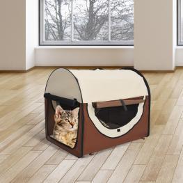 Transportin Bolsa Transporte Perro Gato Mascotas Plegable de Viaje 2 Colores - Color: Cafe Crema