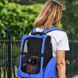 Transportin Carrito Para Mascotas de Oxford 36X30X49Cm  - Pawhut. Azul  - Color: Azul