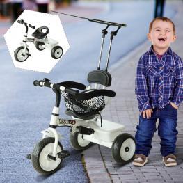 Triciclo Para Niños Con Capota – Color Blanco – Hierro, Plástico y Tela – 103 X 47 X 101Cm  - Color: Blanco