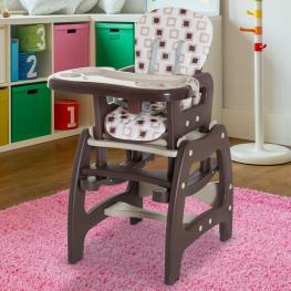 Trona Para Bebés 3 En 1 Convertible En Mecedora y Mesa<br> - Color Marrón<br> - Color: Marron
