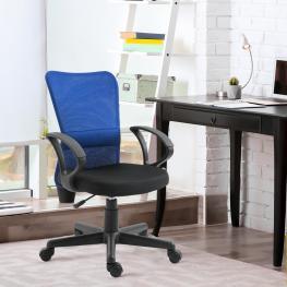 Vinsetto® Sillón Escritorio Ergonómico Giratorio y Altura Ajustable Carga 110Kg Azul - Color: Azul
