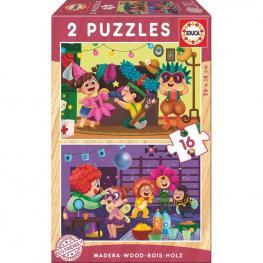 Puzzle Disfraces Madera 2X16Pz