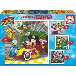 Puzzles Progresivos Mickey And The Roadster Racers Disney 12-16-20-25Pz