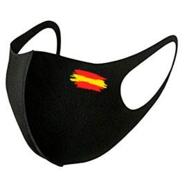 Mascarilla Reutilizable Negra Bandera Izquierda L
