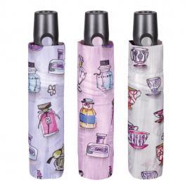 Paraguas Plegable Automatico Antiviento Tazas Perfumes 54Cm Surtido