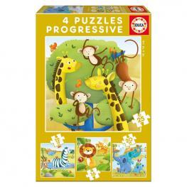 Puzzle Progresivo Animales Salvajes 12-16-20-25Pz