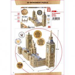 Puzzle 3D Monumento Parlamento + Big Ben Madera 160Pz