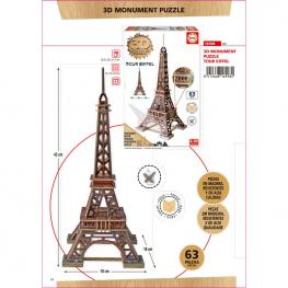 Puzzle 3D Monumento Torre Eiffel Madera 63Pz