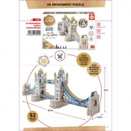 Puzzle 3D Monumento Tower Bridge Madera 92Pz