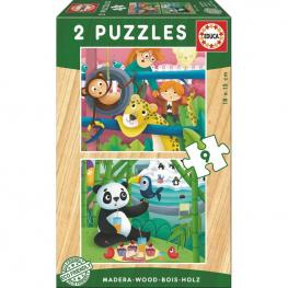 Puzzle Animales Zoo Madera 2X9Pz