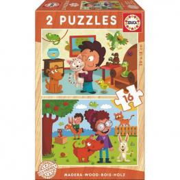 Puzzle Mascotas Madera 2X16Pz