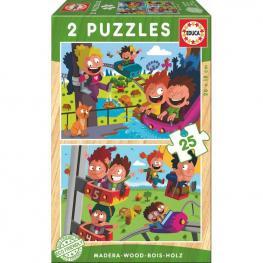 Puzzle Parque de Atracciones Madera 2X16Pz