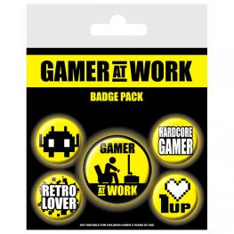 Set 5 Chapas Gamer At Work Gaming