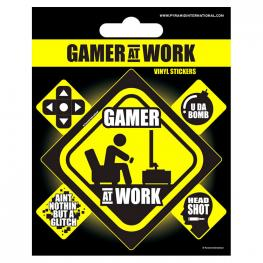 Set Vinilos Gamer At Work Gaming