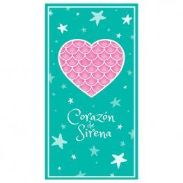 Toalla Corazon de Sirena Microfibra