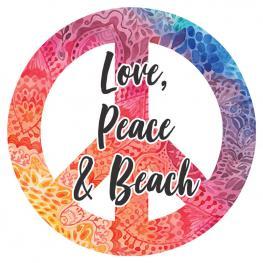Toalla Redonda Love Peace & Beach Microfibra