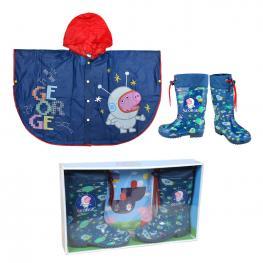 Peppa Botas Para el Agua y Poncho Chubasquero 4Años George Color Azul Tallas 26/27 y 28/29 Ref 25040