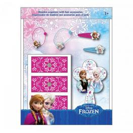 Frozen Organizador de Madera 3 Cajones 2 Clic Clac Metalico 2 Gomas Para el Cabello 1 Espejo Ref Wd