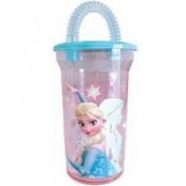 Frozen Vaso Con Pajita Transparente