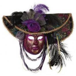 Gran Mascara Veneciana C/ Sombrero Purpurina
