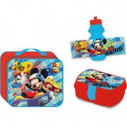 Mickey Mouse Bolsito Termico Para la Merienda Co Una Botella y un Taper de Plastico  Ref  553-37253