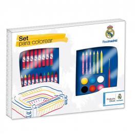 Real Madrid Maletin Artista Cuadrado  Set Para Colorear 86 Piezas Ref 750486