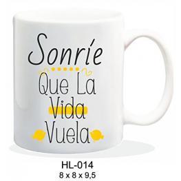 Taza Sonrie Que la Vida Vuela Ref Hl014