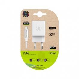 Cargador Doble + Cable Micro Usb(B) Tech One Tech 1M Blanco